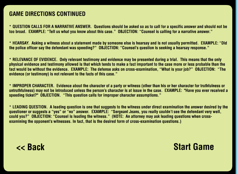 Game Design - Legal Games - Texas LEgal Education - Evidence game Objection your honor Screen Shot 2014-10-20 at 4.03.32 PM