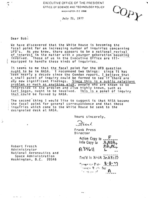 The Carter Administration's Attempt to Create a NASA UFO Commission   Alien News