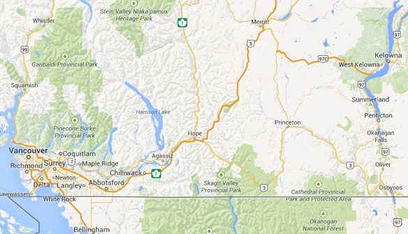 Map of West Kelowna in relation to Vancouver. (Credit: Google Maps)