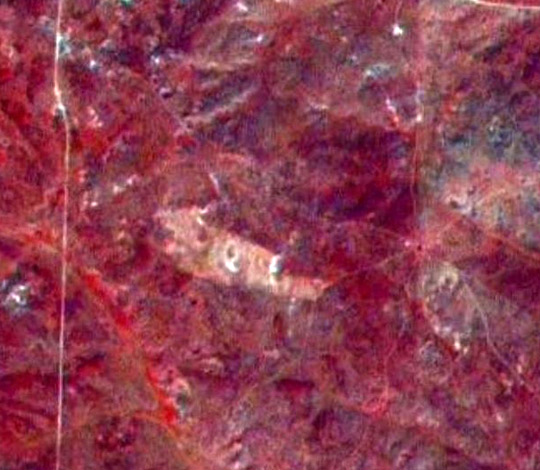Landsat multi-spectral satellite image showing the debris field. The image clearly shows a burn (or disturbed area) covering the exact location of the debris field as described by witnesses. (image credit: Frank Kimbler)