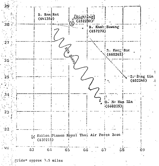 Chart of location of sightings of UFOs/possible enemy helicopters in the Thailand-Laos border in August, 1969, attached to the Kaehler OSI report.