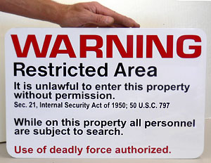 United Nuclear restricted area sign