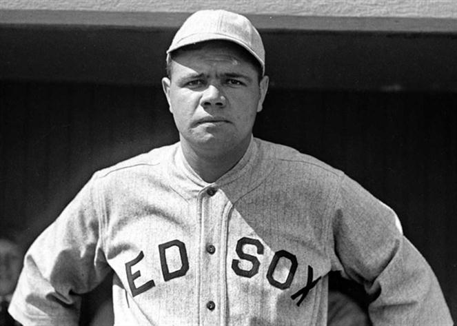 babe ruth in red sox jersey by vintage
