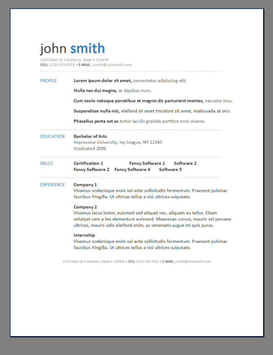 Primer's 6 Free Resume Templates ← Open Resume Templates