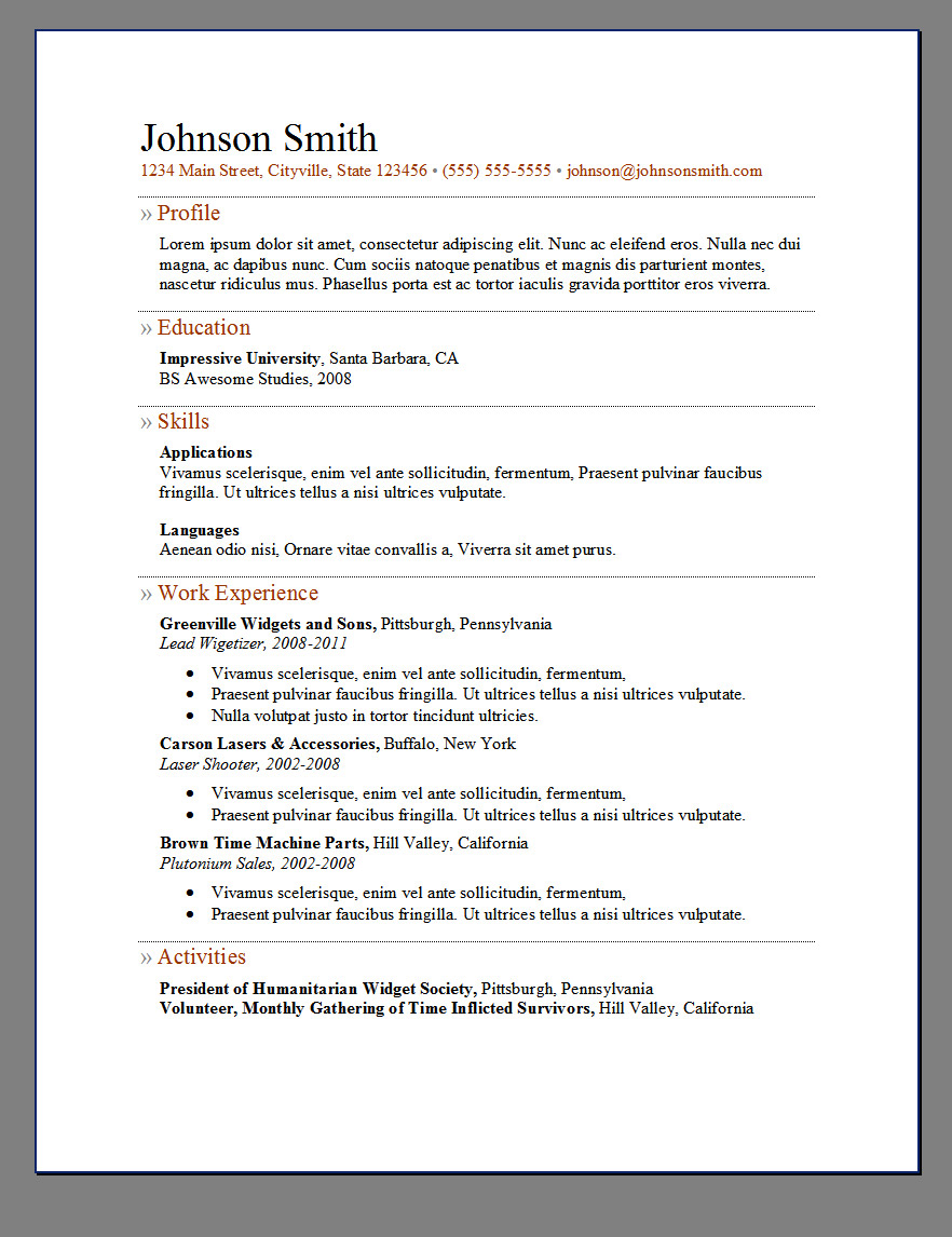 Primers 6 Free Resume Templates  Open Resume Templates