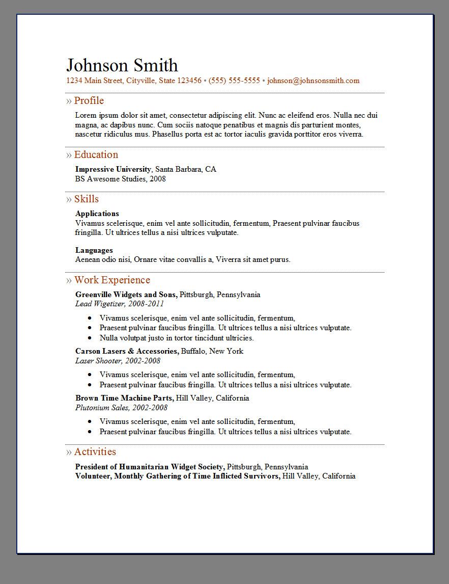 word resume templates reddit