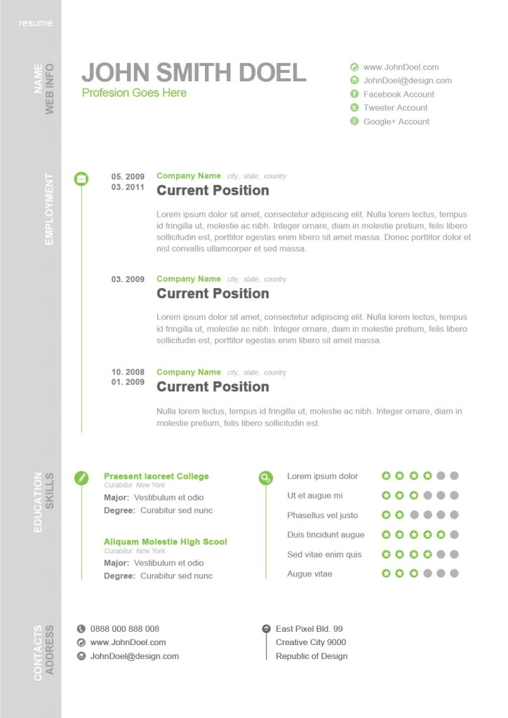awesome psd resume templates