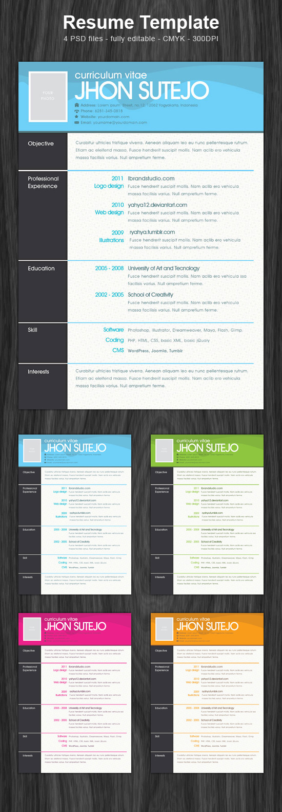 One Page Resume Template PSD ← Open Resume Templates