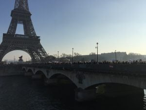 Paris Women's March crossing the Seine