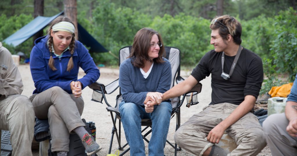 A mother and son connect during Family Quest at Open Sky Wilderness Therapy