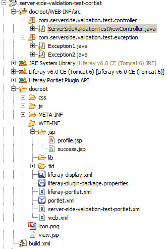 Server Side Validation in Liferay - Project-Structure-with-exception