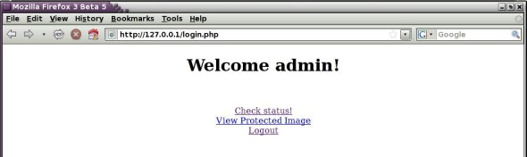 The welcome screen upon successful login