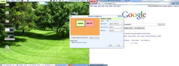 Dual-screen display screenshot
