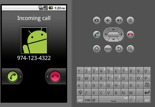 Emulator: simulated incoming call