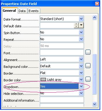 Properties window of the date-field