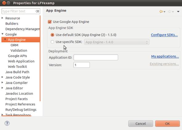 App Engine Project Settings