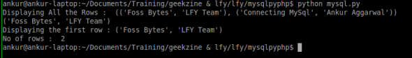Output of the Python script