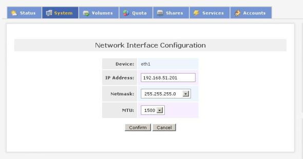 Network interface configuration