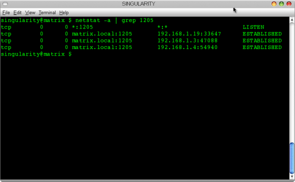 Output of netstat