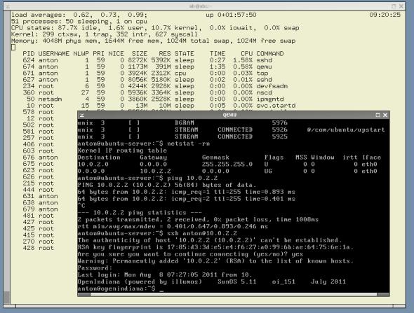 QEMU 0.15 compiled on OI; VM with Ubuntu Server