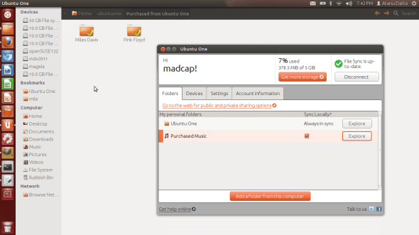 Ubuntu One knows how to keeps things in sync with the cloud