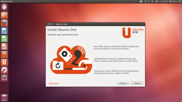 Ready to install and turn on Ubuntu One