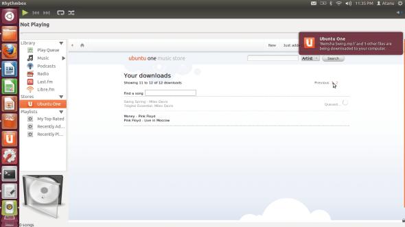 Ubuntu One Music Store inside Rhythmbox