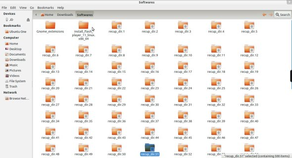 Recovered files and folders