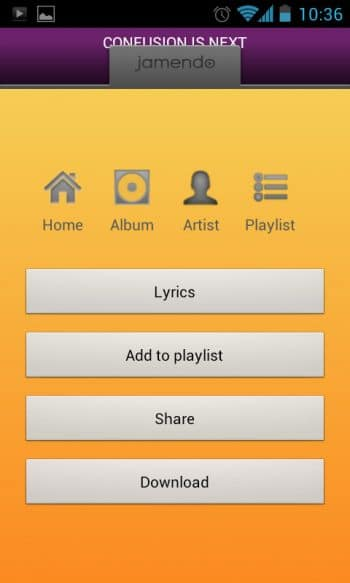 Jamendo menu for song download, artist/album view, etc.