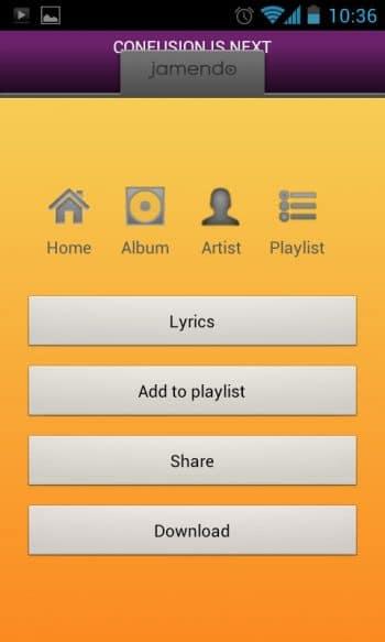 Jamendo menu for song download, artist/album view, etc.