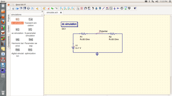Figure 2. A circuit ready for Simulation