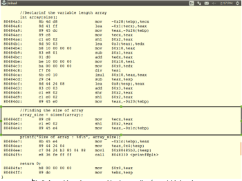 Fig-6_ Assembly code generated by the compiler, for variable length array.