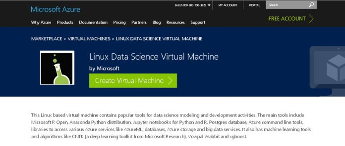 Microsoft Azure lists Linux Data Science Virtual Machine