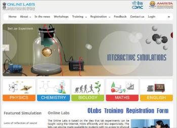 Figure 1 Home page of the OLabs