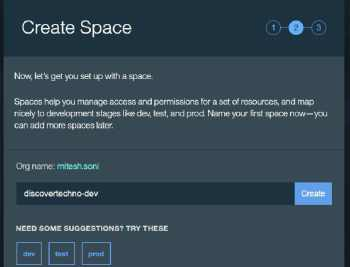 Figure 4 Setting up Space in IBM Bluemix