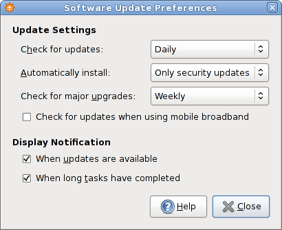Figure 4: Update settings