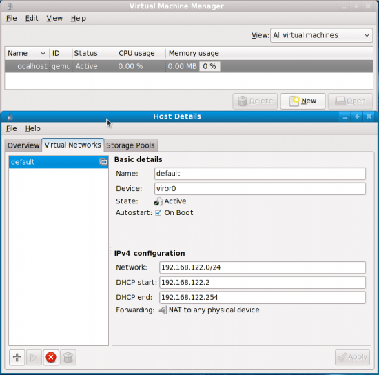 Figure 4: The default virtual networking interface