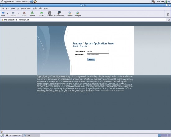 Figure 2: App server login page