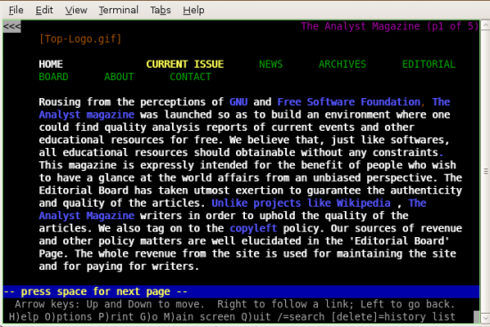 Figure 2: Home page of The Analyst magazine in Lynx