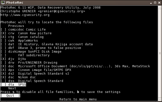 Figure 4: Choose the file types to recover
