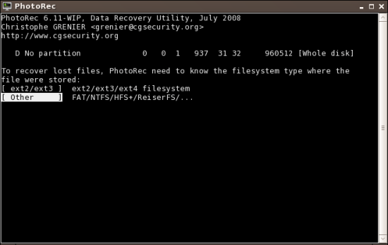 Figure 5: Choose the filesystem type that contains the delated files