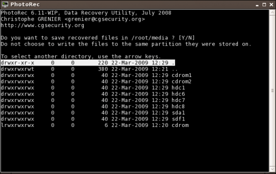 Figure 7: Choose the destination to save recovered files