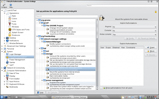 System Settings using the Classic Tree View layout (see LHS pane); fine tuning PolicyKit settings (right)