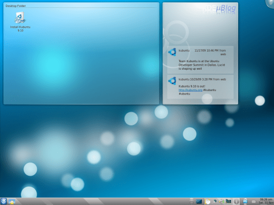 Figure 2: Live Kubuntu desktop with the Kickoff menu and µBlog widget