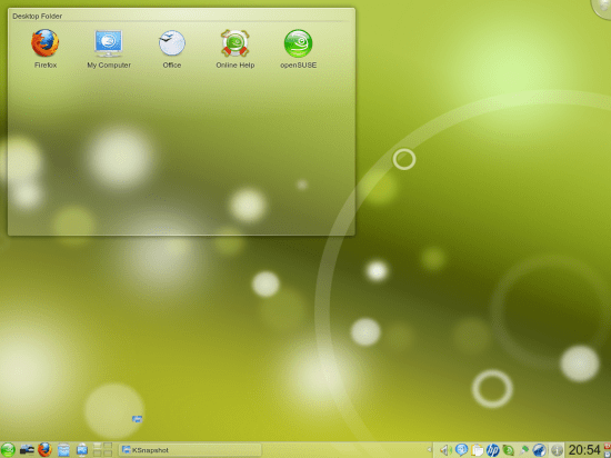 Figure 4: Default openSUSE KDE with their customised Air theme