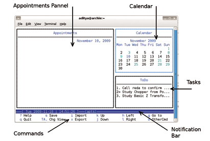 Figure 1: Main window (right after you launch Calcurse)