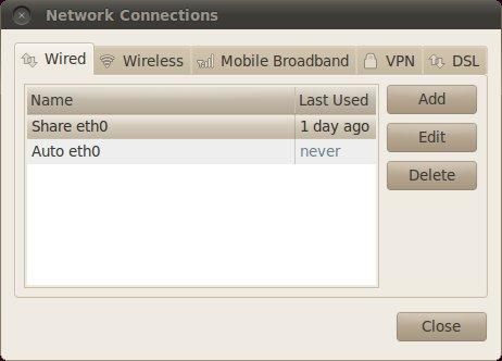 NetworkConnections window - Ubuntu Lucid