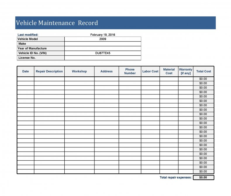 The records of such maintenance of equipment or machinery should be properly maintained in a documented form. 9 Vehicle Maintenance Log Templates Pdf Excel Download