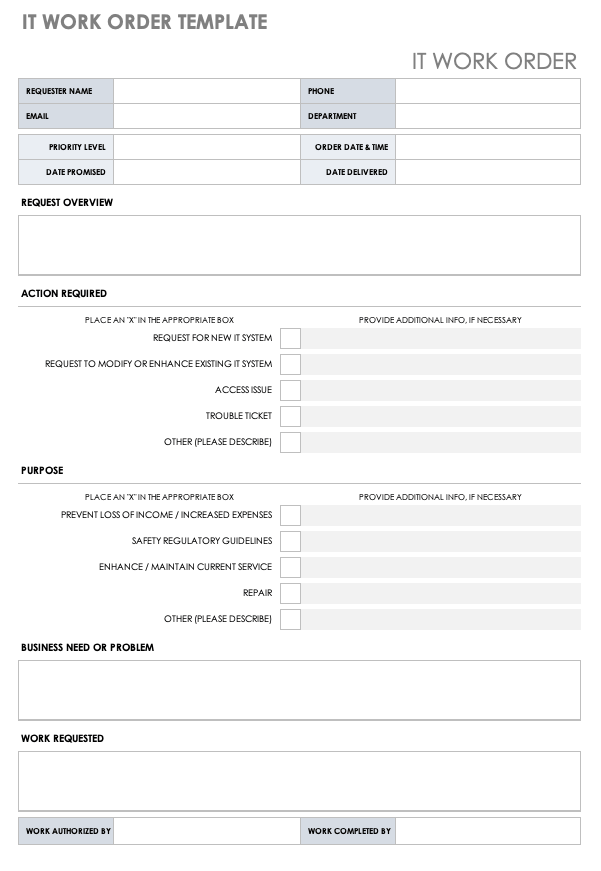 This form template also generates an invoice number automatically with … 17 Work Order Template Free Download Word Excel Pdf
