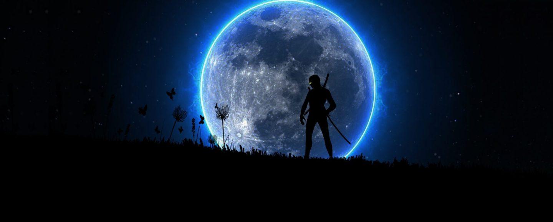 Ninja steht vor dem Mond